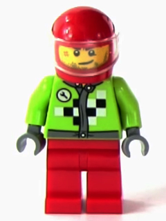 LEGO Juniors: Race minifigs: rac061 Lime Jacket with Wrench and Black and White Checkered Pattern, Red Legs, Red Helmet, Trans-Clear Visor