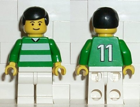 LEGO Minifigs: Sports: Soccer: soc093 Soccer Player Green & White Team #11 on Back. 2000. Preowned.