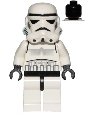 Star Wars Episode 4/5/6 minifig: sw0036b Stormtrooper (black head). 2007-8. Preowned.