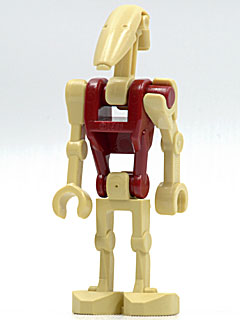 LEGO Star Wars: sw0096 Battle Droid Security with straight arm & dark red torso. Preowned.