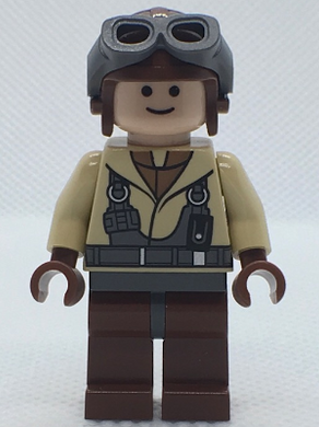 LEGO Star Wars Episode 1 minifigure: sw0160 Naboo Fighter Pilot- Tan Jacket. 2007-9. Preowned.