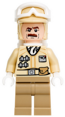 LEGO Star Wars Episode 4/5/6 minifigure: sw0425 Hoth Rebel Trooper Tan Uniform (mustache), 2012. Preowned.