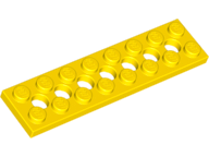 LEGO 3738 Technic Plate, 2 x 8 with holes, yellow. Package of 6. New.