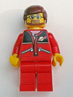 LEGO City Minifigure: trn126 Red Jacket with Zipper Pockets and Classic Space Logo, Red Legs, Reddish Brown Male Hair. 2006. Preowned.