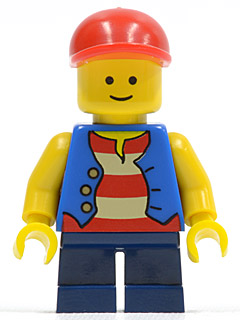 LEGO Minifigs: Town: twn105 Vest over Red and White Striped Shirt, Dark Blue Short Legs, Red Short Bill Cap. 2010. Preowned.