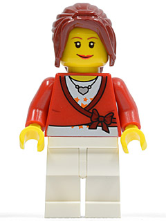 LEGO Town: City Minifigure: twn117 Sweater Cropped with Bow, Heart Necklace, White Legs, Dark Red Hair Ponytail Long with Side Bangs. 2010. Preowned.
