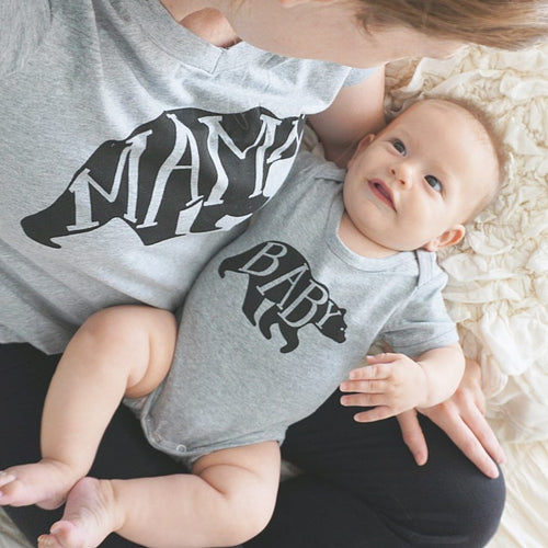 Mama Bear T-Shirt and Baby Bear Romper Matching Set Grey