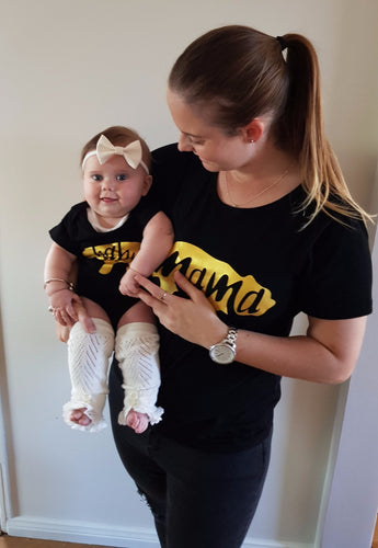 Mama Bear T-Shirt and Baby Bear Onesie Matching Set Gold