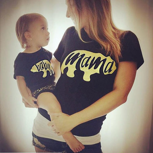 Mama Bear T-Shirt and Baby Bear Onesie Gold (1pc)
