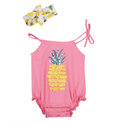PAM Pineapple Ruffles Strappy Romper with Headband 2pcs Set