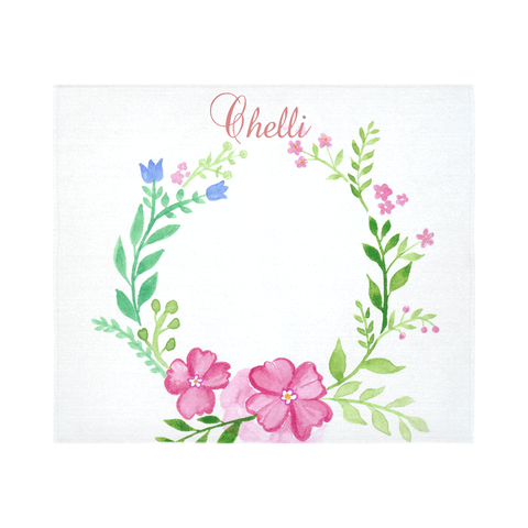 Customized Baby Development Blanket - Water Color Wreath