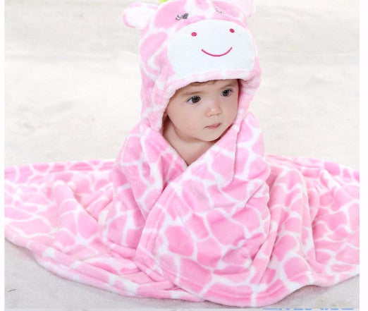AVERY Animal Hooded Bathrobe Pink Giraffe