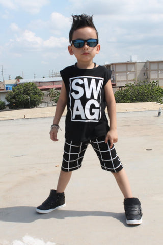 """SWAG"" Sleeveless T-Shirt and Grid Pants Set"