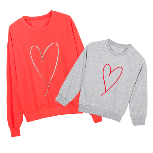 LUV Heart Mother and Kids Matching Pullover Sweater Top (1pc) -  Family Sets - The Tot Drawer