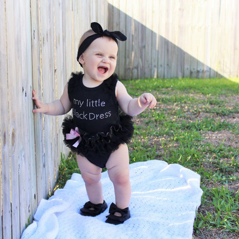 """My Little Black Dress"" Tutu Bodysuit -  Romper - The Tot Drawer"