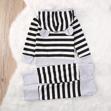 MARLEY Striped Bear Ears Hoodie and Long Pants Set BW -  Sets - The Tot Drawer