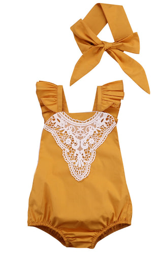 OLIVIA Lace Romper with Headband -  Romper - The Tot Drawer
