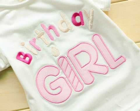 """Birthday Girl"" T-shirt and Layered Ribbon Bow Tutu Skirt  Set -  Sets - The Tot Drawer"