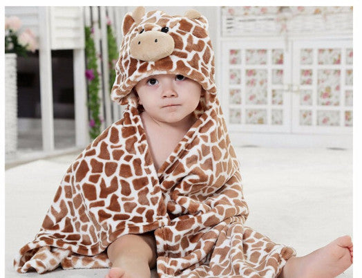 AVERY Animal Hooded Bathrobe Brown Giraffe