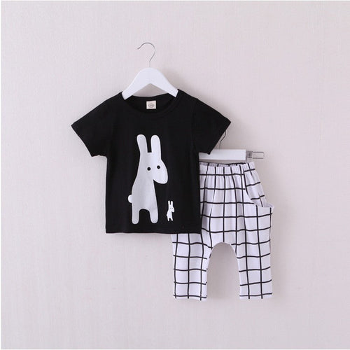 DAMIEN Rabbits T-shirt and Pants Set Black