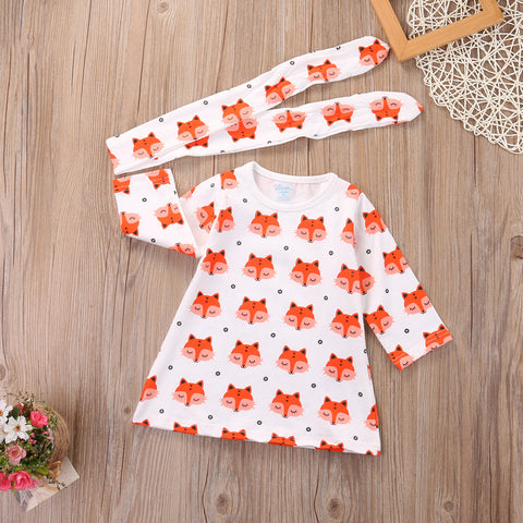 ZOEY Fox Print Dress and Headband Set