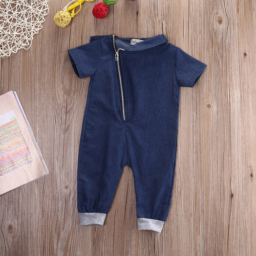 FRANCIS Denim Short Sleeve Romper with Zipper -  Romper - The Tot Drawer