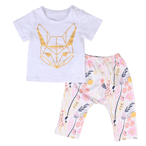 CALEB Fox Print T-Shirt and Floral Leggings Set