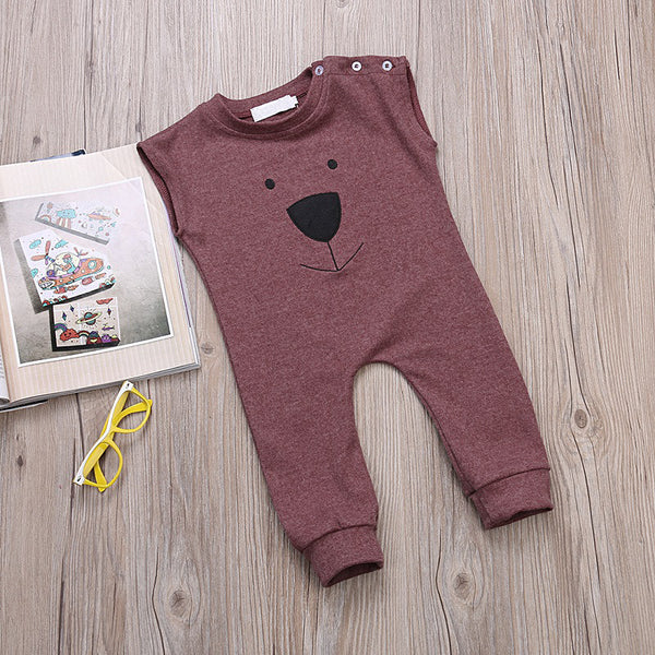 BILLY Bear Sleeveless Jumpsuit Wine Red -  Onesies - The Tot Drawer