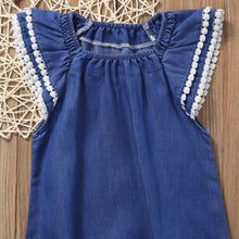 GIANNA Denim Lace-Trimming Ruffles Sleeves Romper