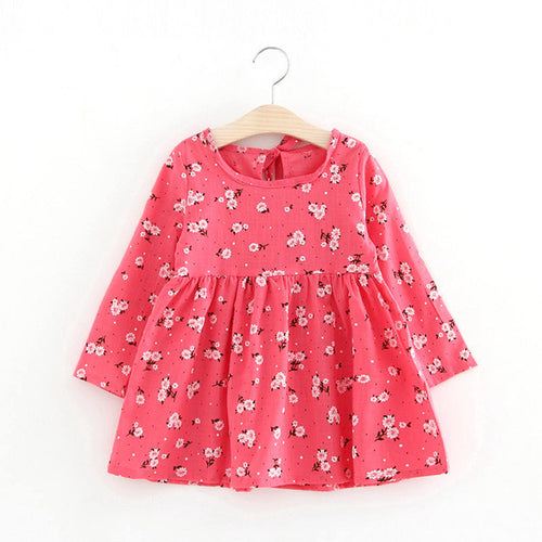 Cute Floral Printed Baby Girls Dresses Spring Autumn Long Sleeve Bow Princess Dress Casual Costume Kids Clothes Tutu Vestidos -   - The Tot Drawer