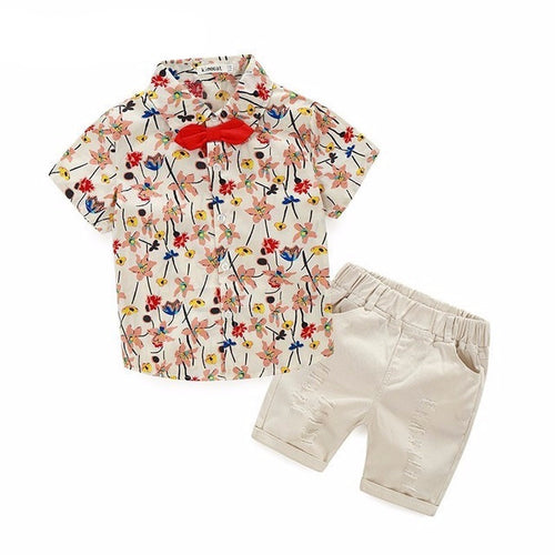 AIDEN Shirt and Pants Set Floral Bowtie -  Sets - The Tot Drawer