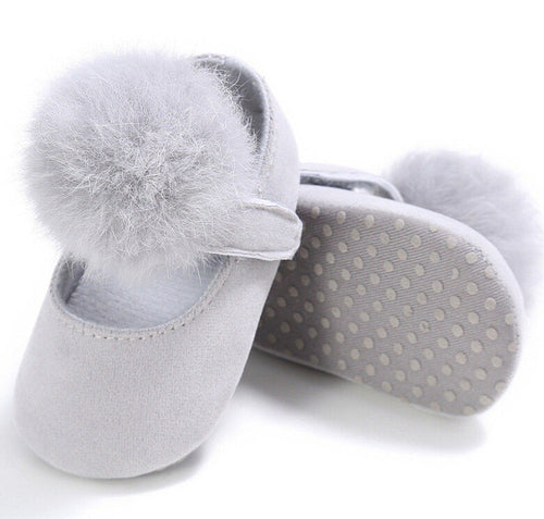 PAIGE Pompom Crib Shoes Grey -  Shoes - The Tot Drawer