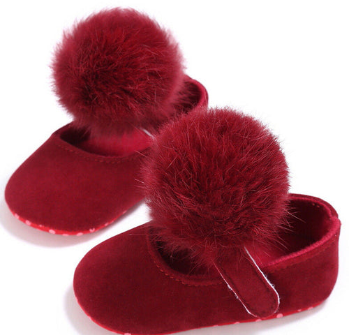 PAIGE Pompom Crib Shoes Red -  Shoes - The Tot Drawer