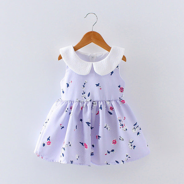 ANNA Floral Peter Pan Collar Sleeveless Sundress Purple -  Dress - The Tot Drawer