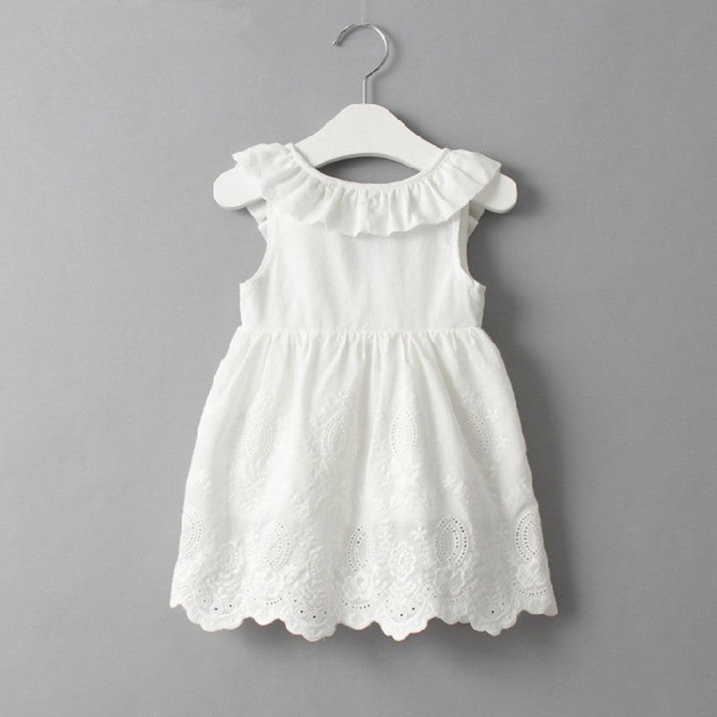 TRINITY Ruffles Bowknot Embroidery Lace Dress -  Dress - The Tot Drawer