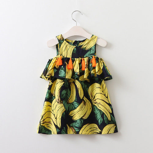 WILLOW Tassel Lotus Ruffles Neckline Cold-Shoulder Dress Blue-based Bananas -  Dress - The Tot Drawer