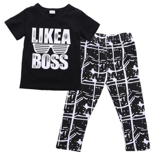 New Arrival Cool Baby Boys Kids Summer Sets Short Sleeve T-shirt Tops+Pants 2pcs Children Sets Outfits Summer Clothes Set 1-5Y -  Sets - The Tot Drawer