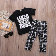 """Like a Boss"" T-shirt and Pants Set Black -  Sets - The Tot Drawer"
