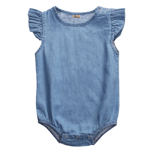HARPER Denim Ruffles Sleeves Romper -  Romper - The Tot Drawer