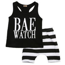 """Bae Watch"" Racer Tank Top and Stripes Harem Pants Set -  Sets - The Tot Drawer"