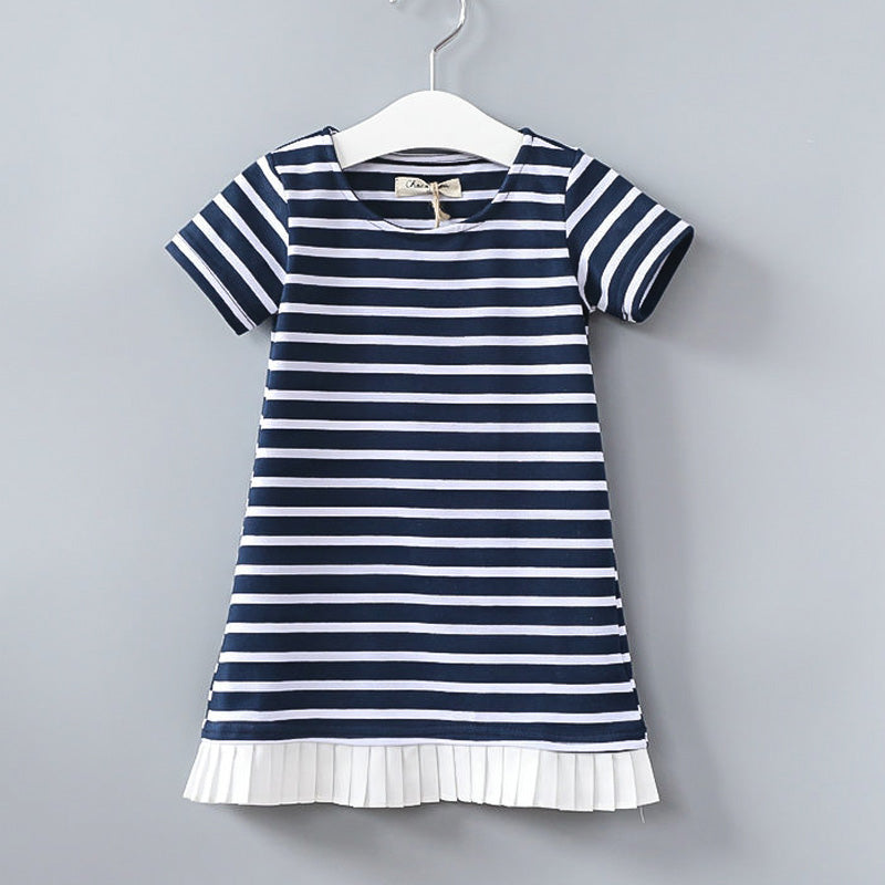 KELSEY Striped Pleated-Hem Dress -  Dress - The Tot Drawer