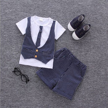 DALE T-shirt with Faux Vest, Necktie and Short Pants Set Blue -  Sets - The Tot Drawer