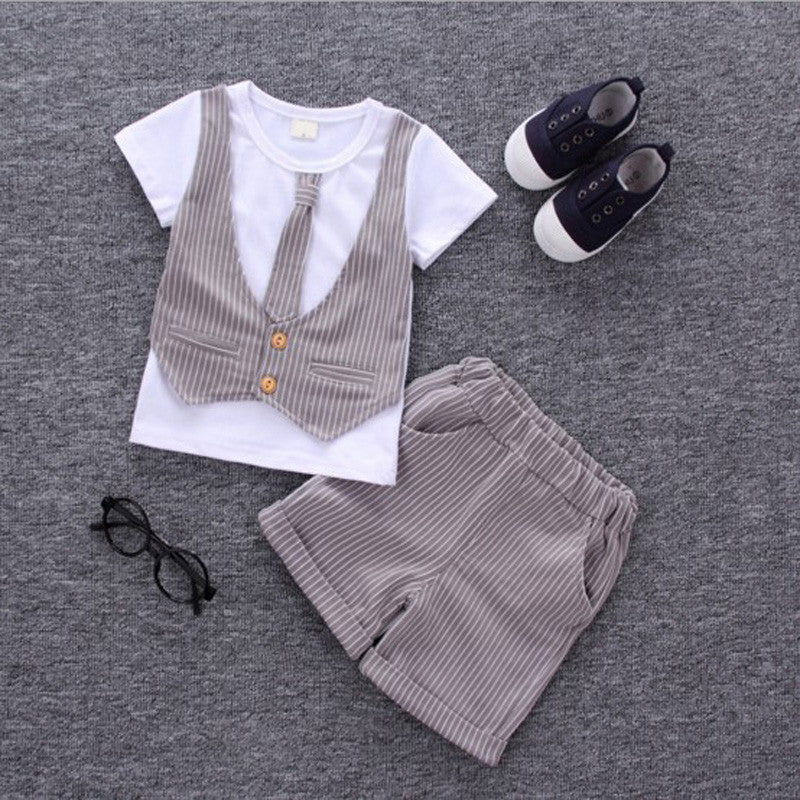 DALE T-shirt with Faux Vest, Necktie and Short Pants Set Grey