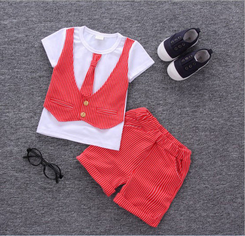 DALE T-shirt with Faux Vest, Necktie and Short Pants Set Red