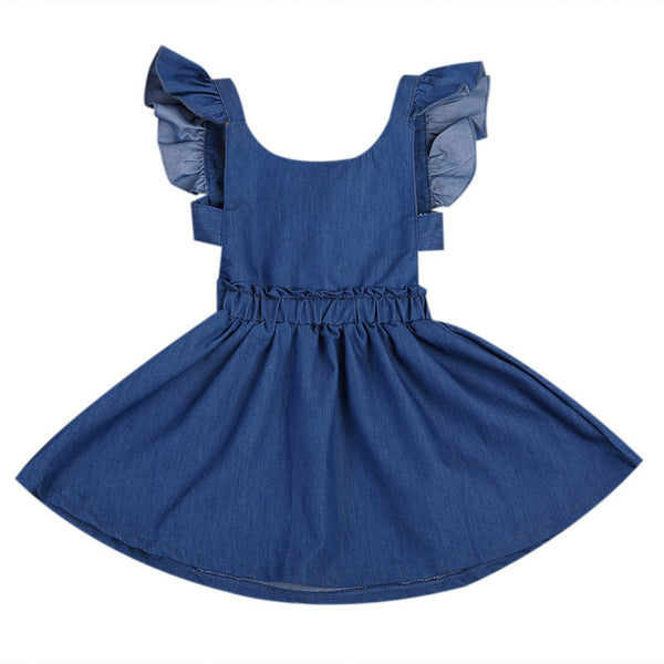 JORDAN Ruffles Sleeves Tie-Back Denim Circular Dress
