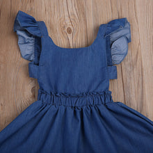 JORDAN Ruffles Sleeves Tie-Back Denim Circular Dress -  Dress - The Tot Drawer