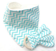 CAREY Bib and Teething Ring Set Blue Zigzag -  Accessories - The Tot Drawer
