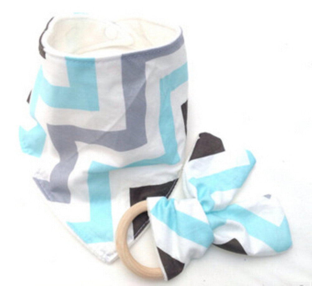 CAREY Bib and Teething Ring Set Blue Grey Zigzag -  Accessories - The Tot Drawer