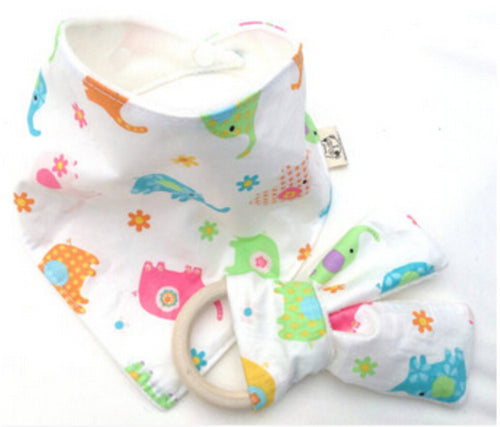CAREY Bib and Teething Ring Set Multicolor Elephants