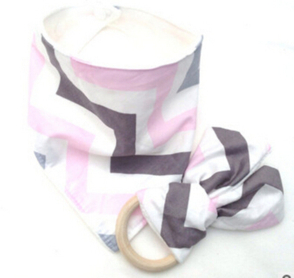 CAREY Bib and Teething Ring Set Pink Purple Zigzag -  Accessories - The Tot Drawer